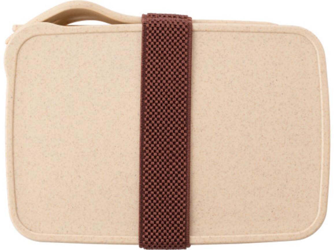 Lunchbox 'Mahlzeit' aus Kunststoff – Braun bedrucken, Art.-Nr. 011999999_9161