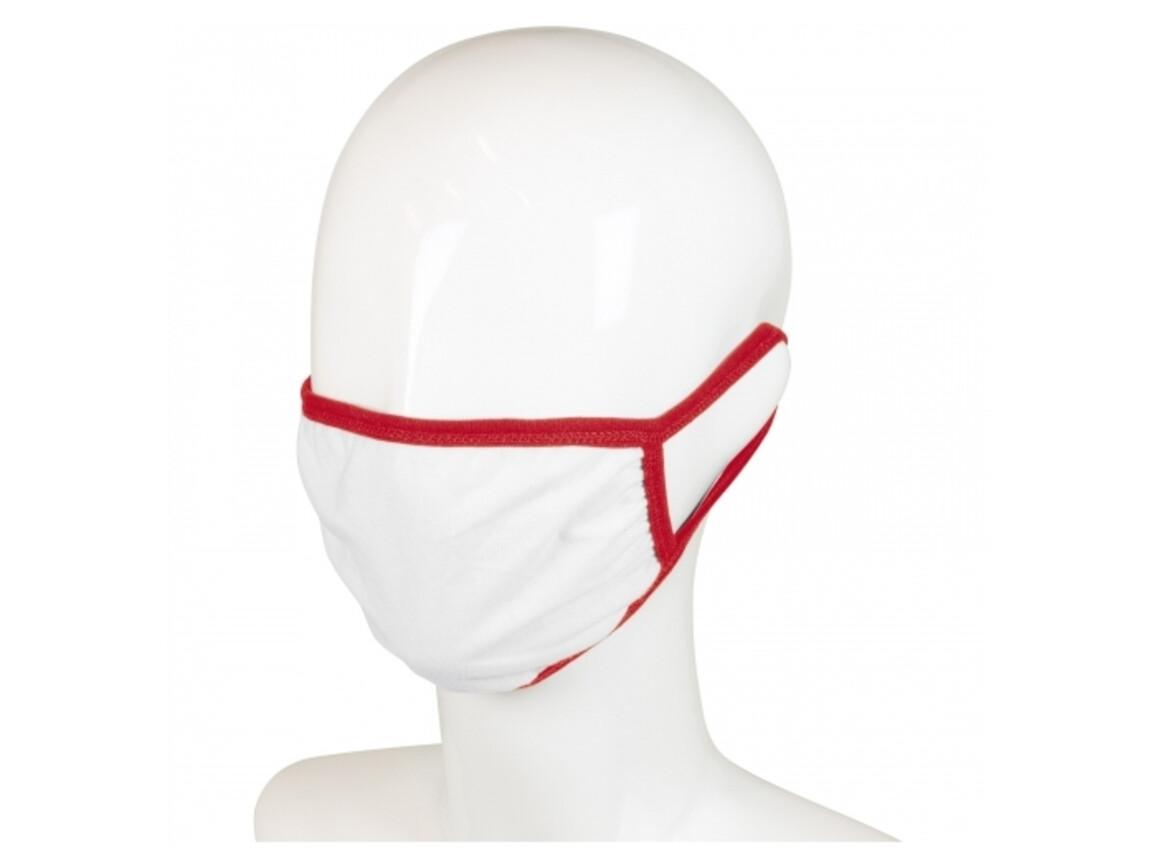 Wiederverwendbare Gesichtsmaske mit all-over Druck - Weiss / Rot bedrucken, Art.-Nr. LT91333-N0121