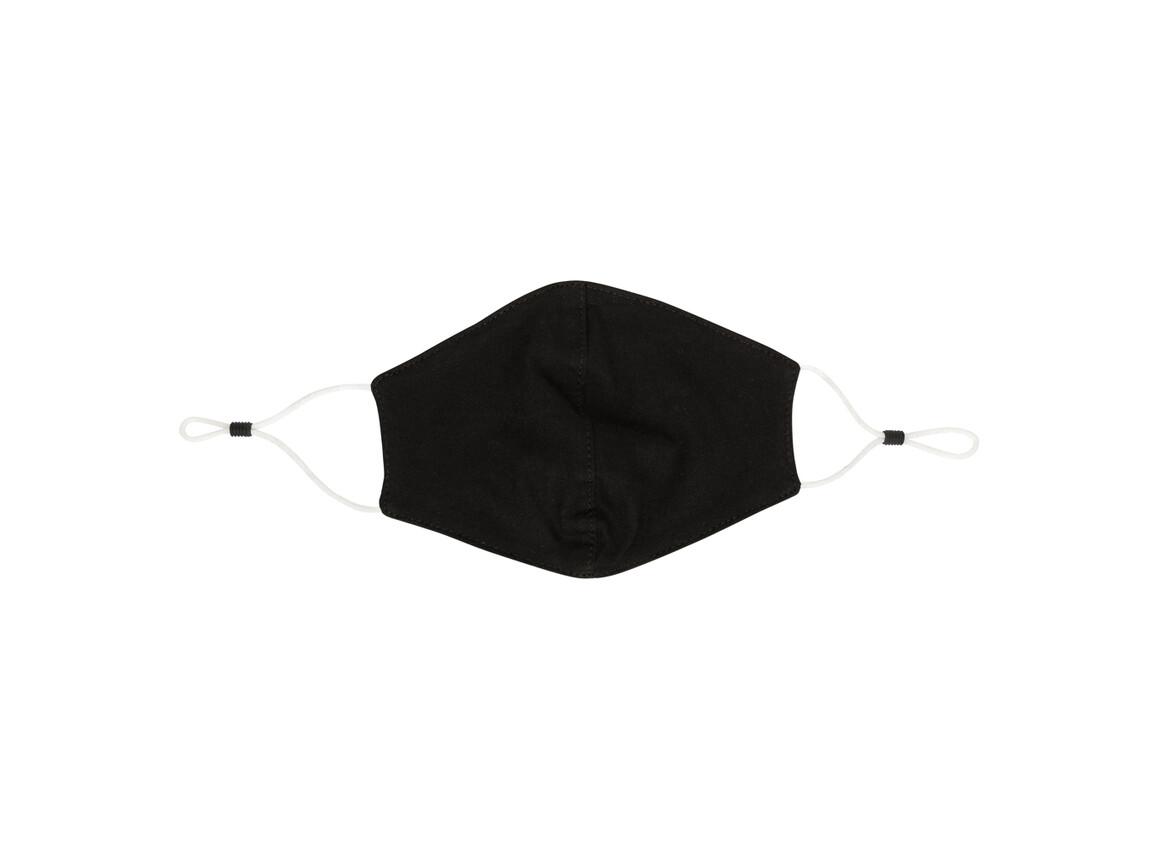 Wiederverwendbare 2-lagige Baumwoll-Gesichtsmaske schwarz bedrucken, Art.-Nr. P265.891