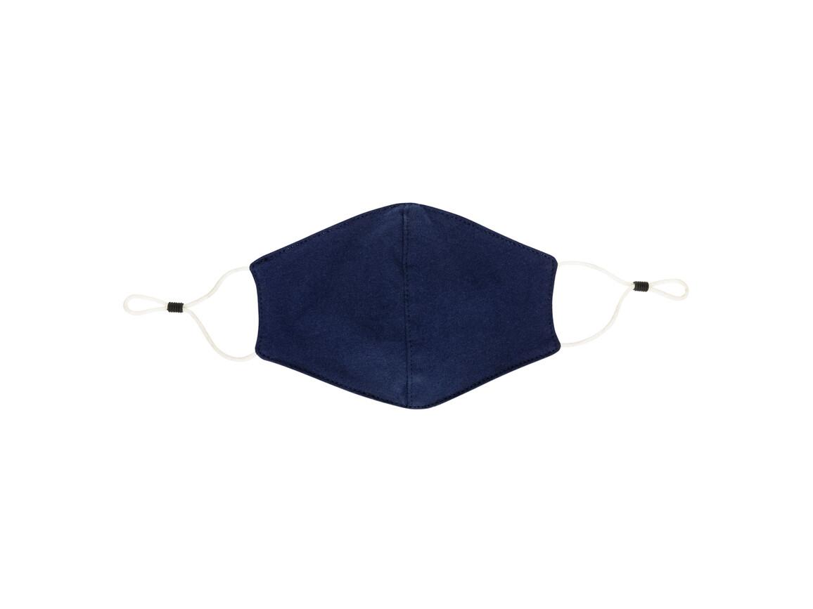 Wiederverwendbare 2-lagige Baumwoll-Gesichtsmaske navy blau bedrucken, Art.-Nr. P265.895