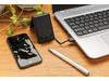 Multifunktionale 5W Wireless Charging Reisekarte schwarz bedrucken, Art.-Nr. P308.031