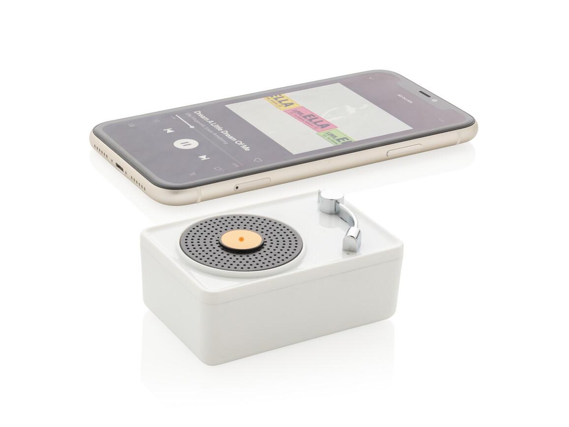 Mini Vintage kabelloser 3W Lautsprecher weiß, schwarz bedrucken, Art.-Nr. P329.333