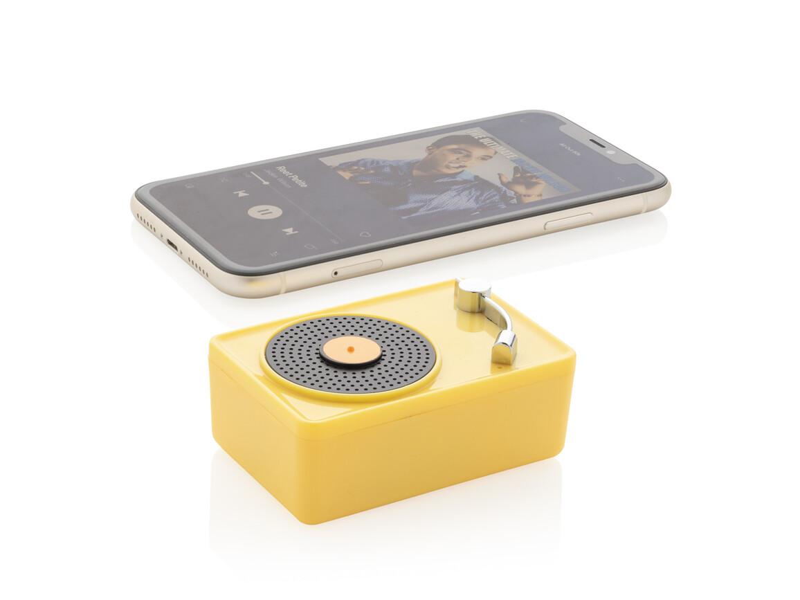 Mini Vintage kabelloser 3W Lautsprecher gelb, schwarz bedrucken, Art.-Nr. P329.336