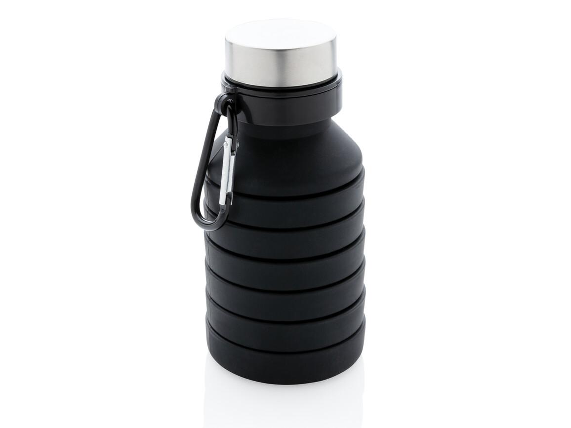 Auslaufgeschützte faltbare Silikonflasche schwarz bedrucken, Art.-Nr. P432.621