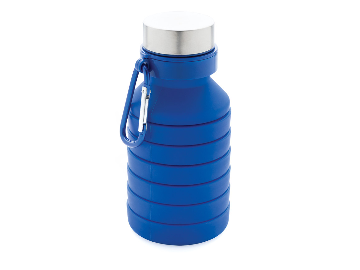 Auslaufgeschützte faltbare Silikonflasche blau bedrucken, Art.-Nr. P432.625