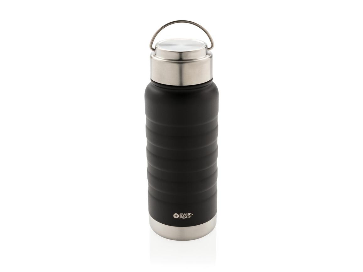 Swiss Peak Elite Kupfer-Vakuum-Flasche mit Griff schwarz bedrucken, Art.-Nr. P436.731