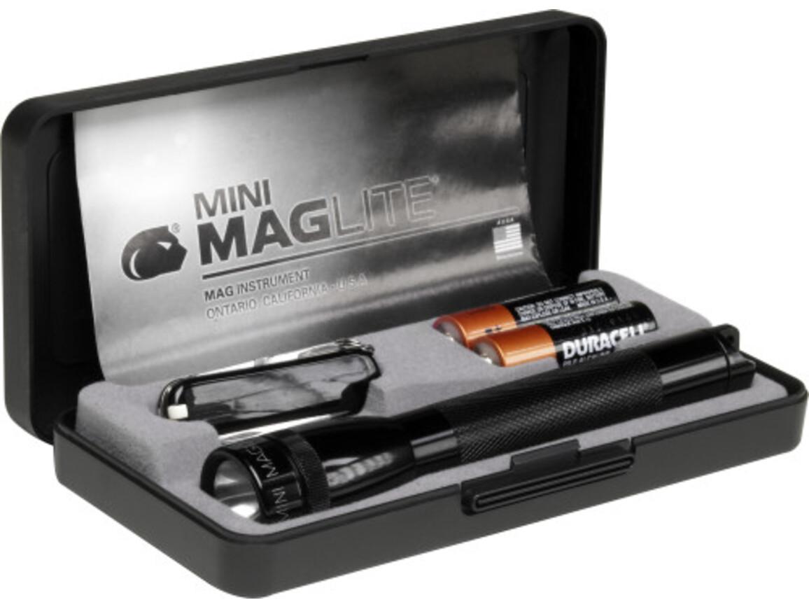 Aluminium torch Mag-lite mini with pocket knife Victorinox – Schwarz bedrucken, Art.-Nr. 001999999_2829