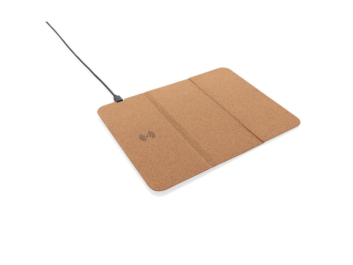 5W Wireless Charger Mauspad aus Kork braun bedrucken, Art.-Nr. P308.089