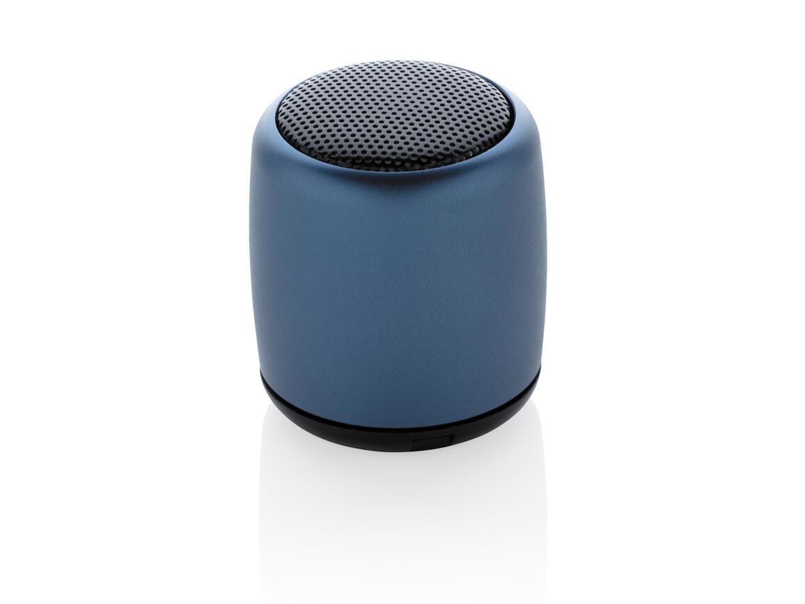 Kabelloser Mini-Lautsprecher aus Aluminium blau bedrucken, Art.-Nr. P329.395