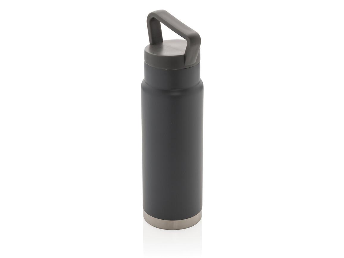 Auslaufsichere Vakuum-Flasche mit Tragegriff grau bedrucken, Art.-Nr. P436.922