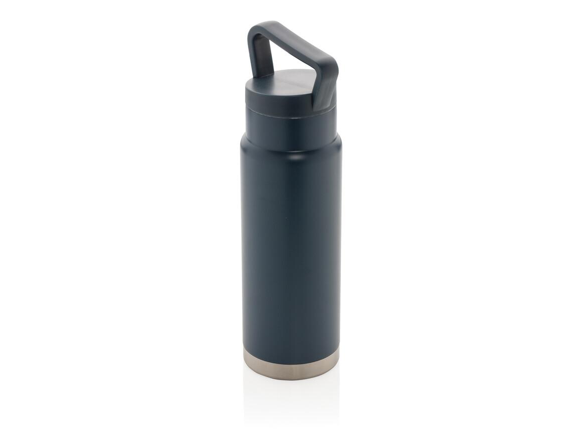 Auslaufsichere Vakuum-Flasche mit Tragegriff blau bedrucken, Art.-Nr. P436.925