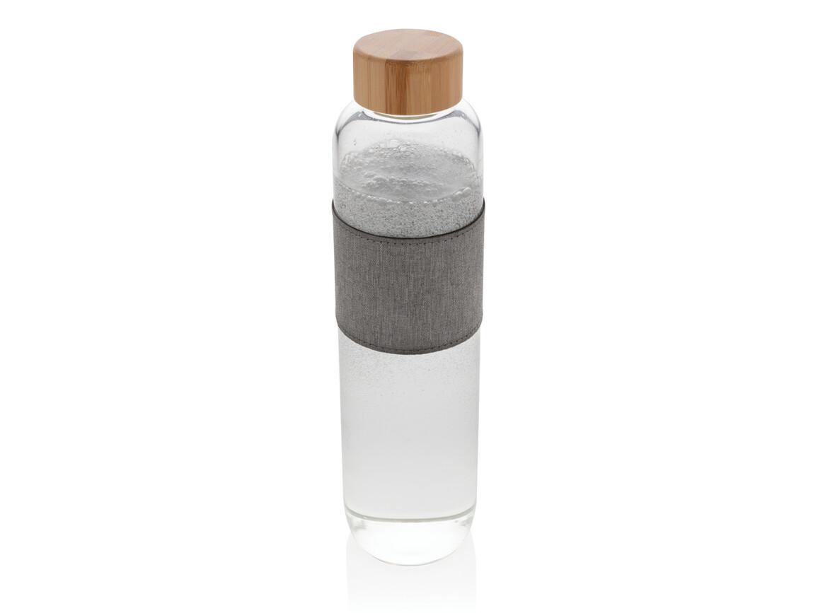 Impact Borosilikat-Glasflasche mit Bambusdeckel transparent, grau bedrucken, Art.-Nr. P436.770