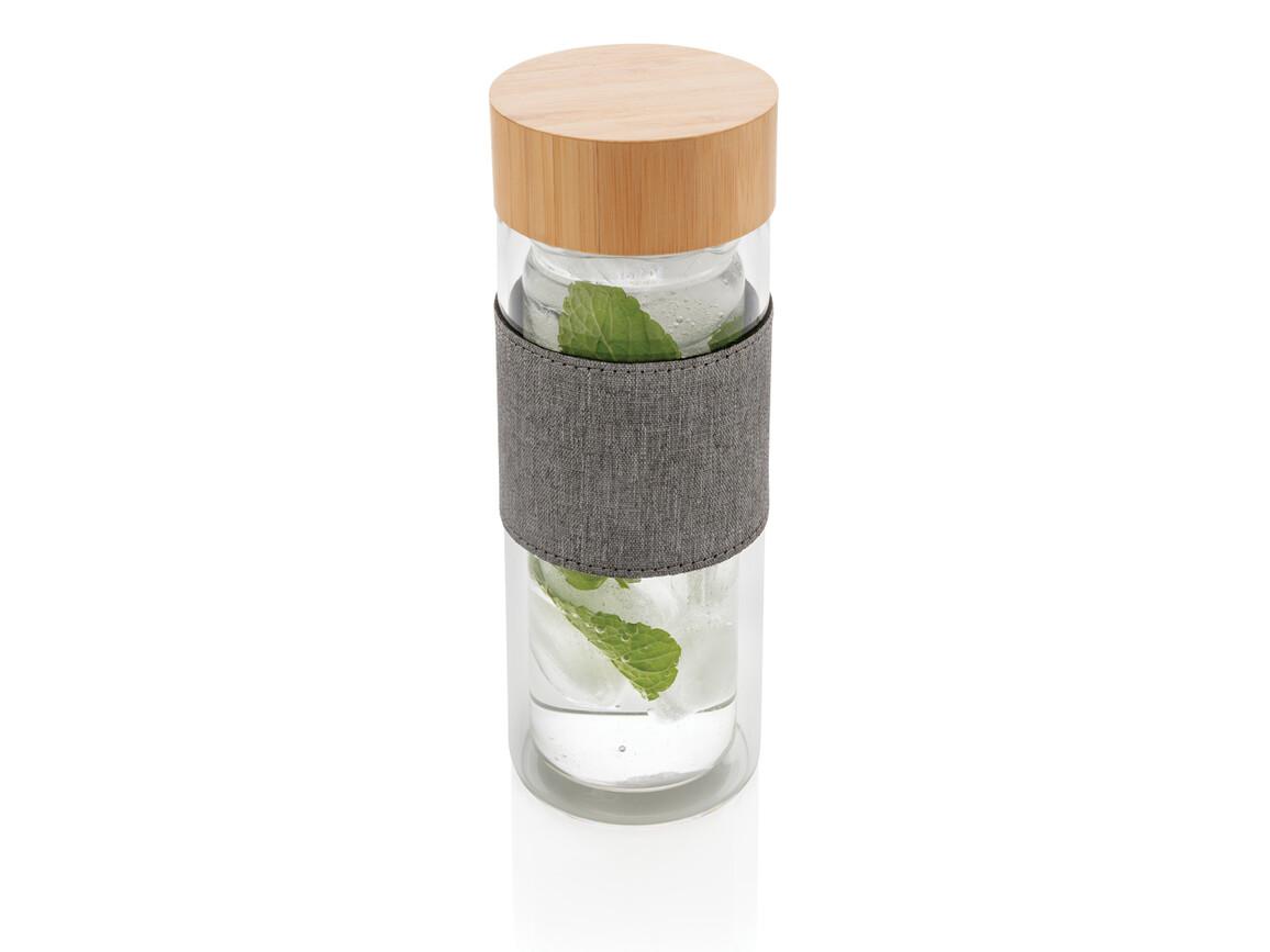 Impact doppelwandige Borosilikatglas-Flasche transparent, grau bedrucken, Art.-Nr. P436.780