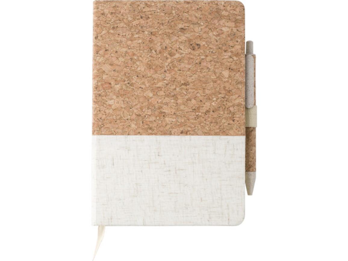 Cork-Line Notizbuch aus Kork und Leinen und Kugelschreiber aus Weizenstroh – Braun bedrucken, Art.-Nr. 011999999_9312