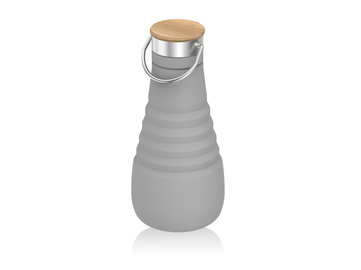 Auslaufsichere, faltbare Silikonflasche grau bedrucken, Art.-Nr. P436.742