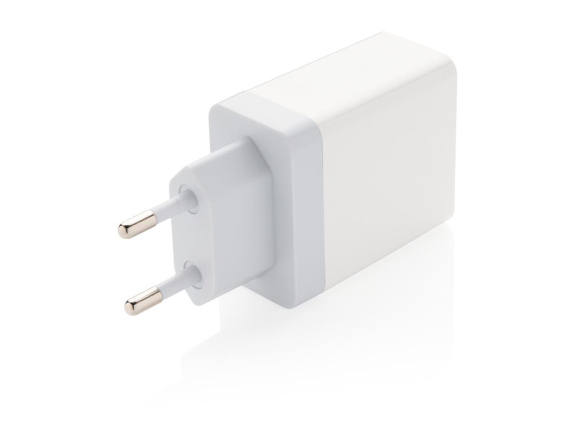 30W Dual-Output Wallcharger mit PD weiß bedrucken, Art.-Nr. P301.063