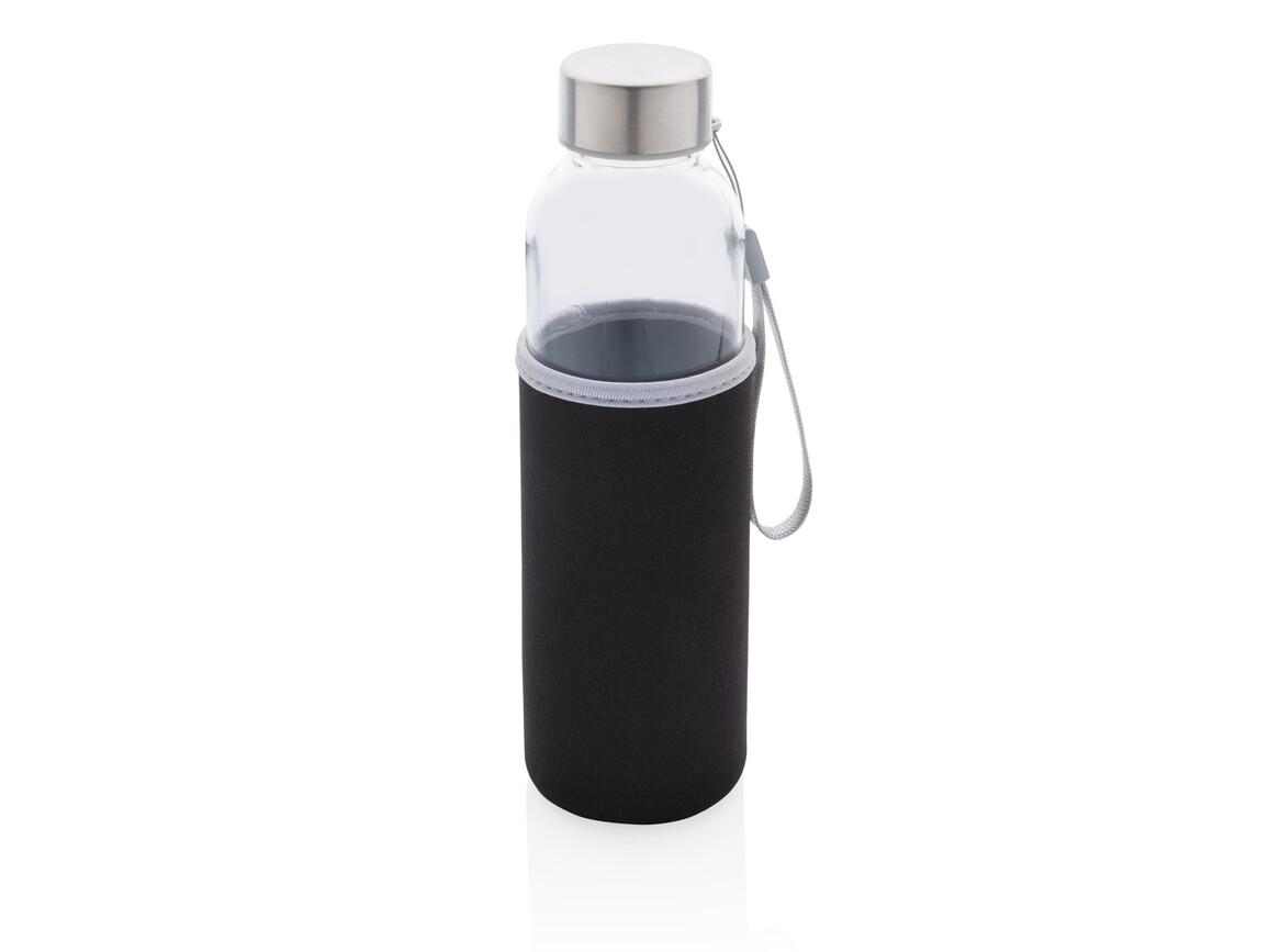 Glasflasche mit Neopren-Sleeve schwarz bedrucken, Art.-Nr. P433.431