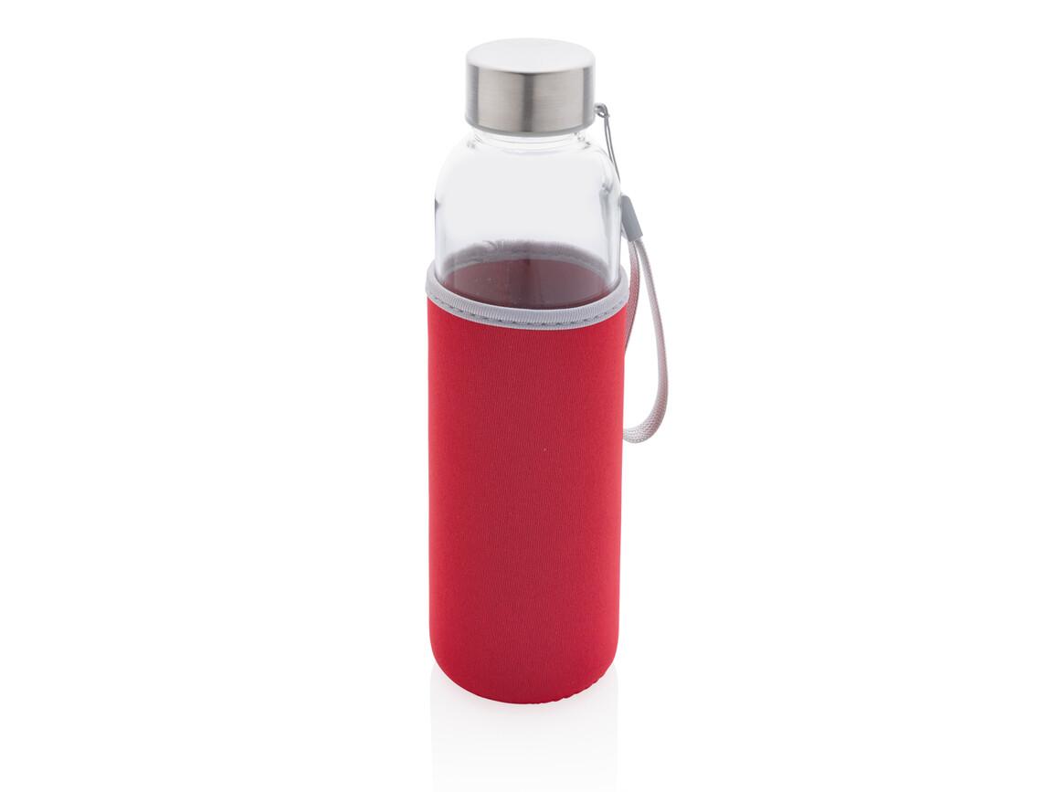 Glasflasche mit Neopren-Sleeve rot bedrucken, Art.-Nr. P433.434