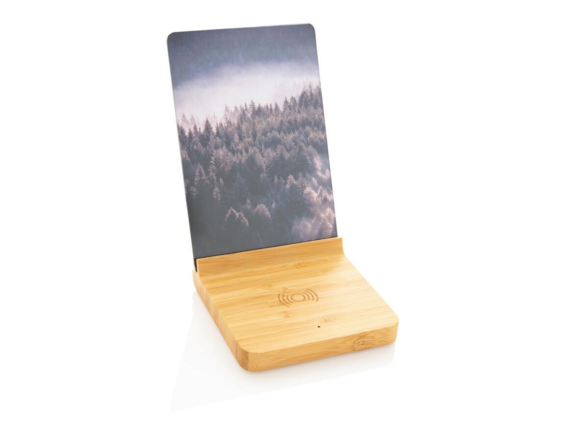 Bambus 5W Wireless Charger mit Fotorahmen braun bedrucken, Art.-Nr. P308.139