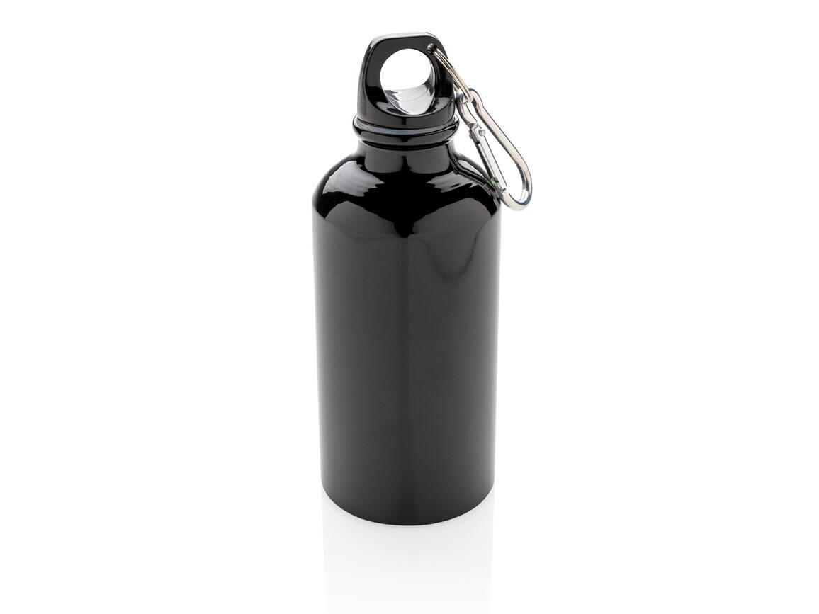Aluminium Sportflasche mit Karabiner schwarz bedrucken, Art.-Nr. P436.161