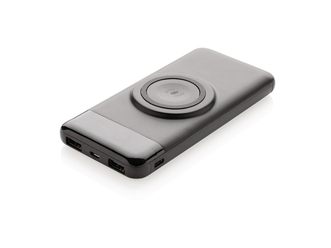 10.000 mAh Wireless Powerbank mit Watch-Charger schwarz bedrucken, Art.-Nr. P322.261