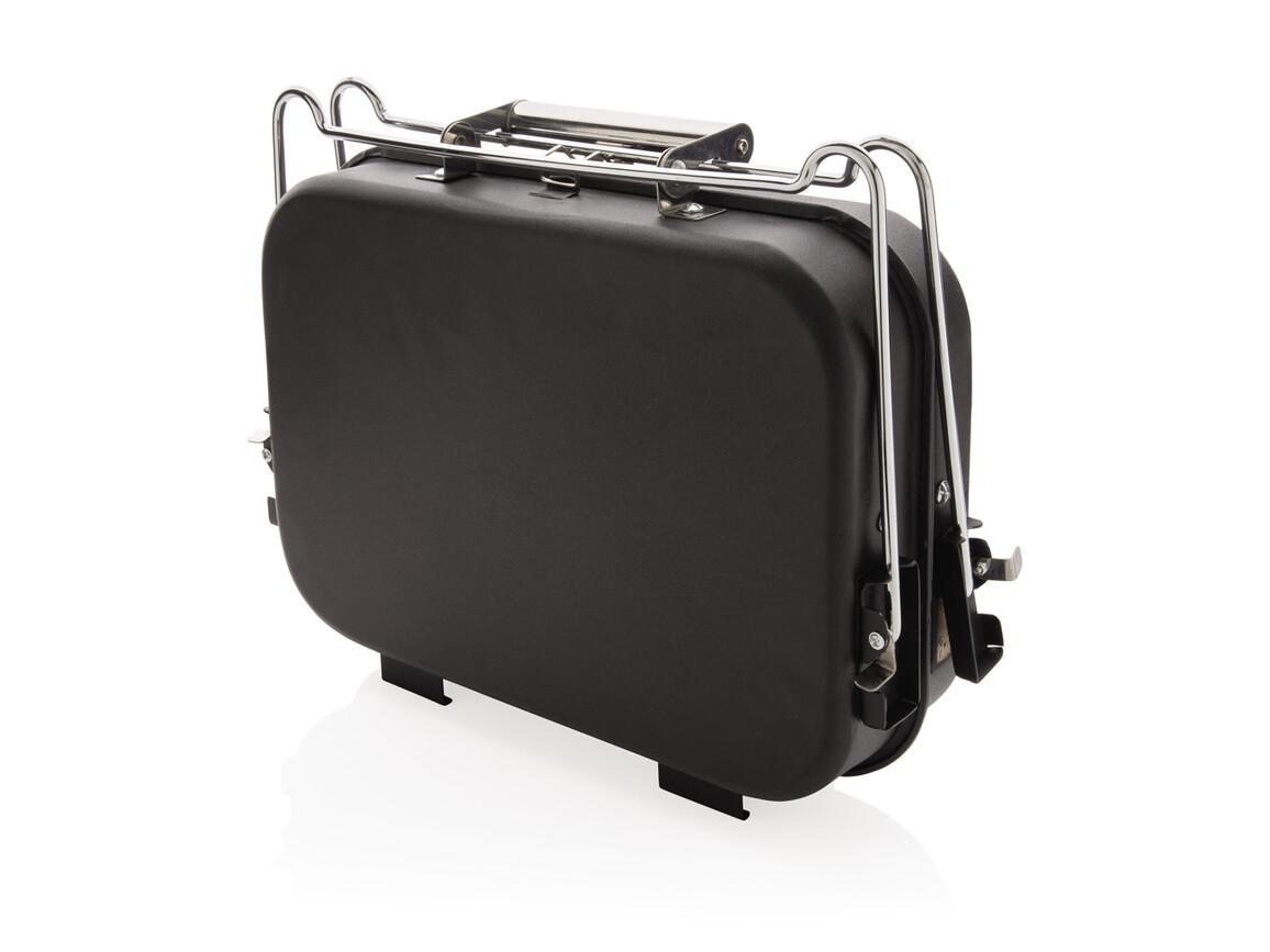 Tragbarer Deluxe Grill im Koffer schwarz bedrucken, Art.-Nr. P422.241