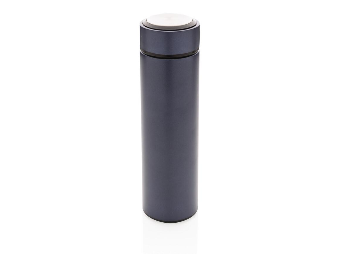 Vakuum Stainless Steel Flasche mit gebürstetem Metalldeckel blau, schwarz bedrucken, Art.-Nr. P433.395