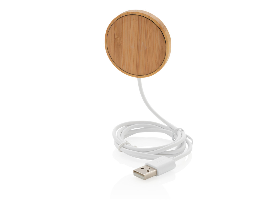 10W Bambus magnetischer Wireless Charger braun bedrucken, Art.-Nr. P302.639