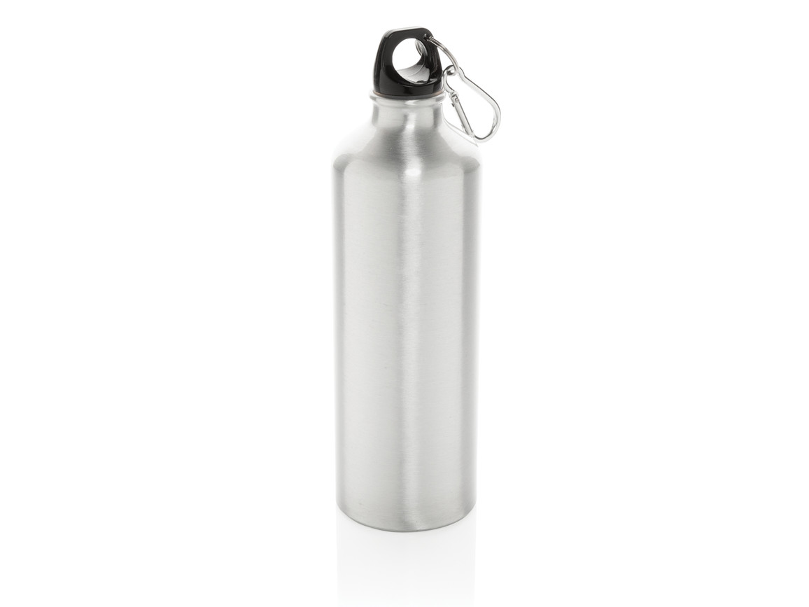 XL Aluminium Flasche mit Karabiner silber, schwarz bedrucken, Art.-Nr. P436.242