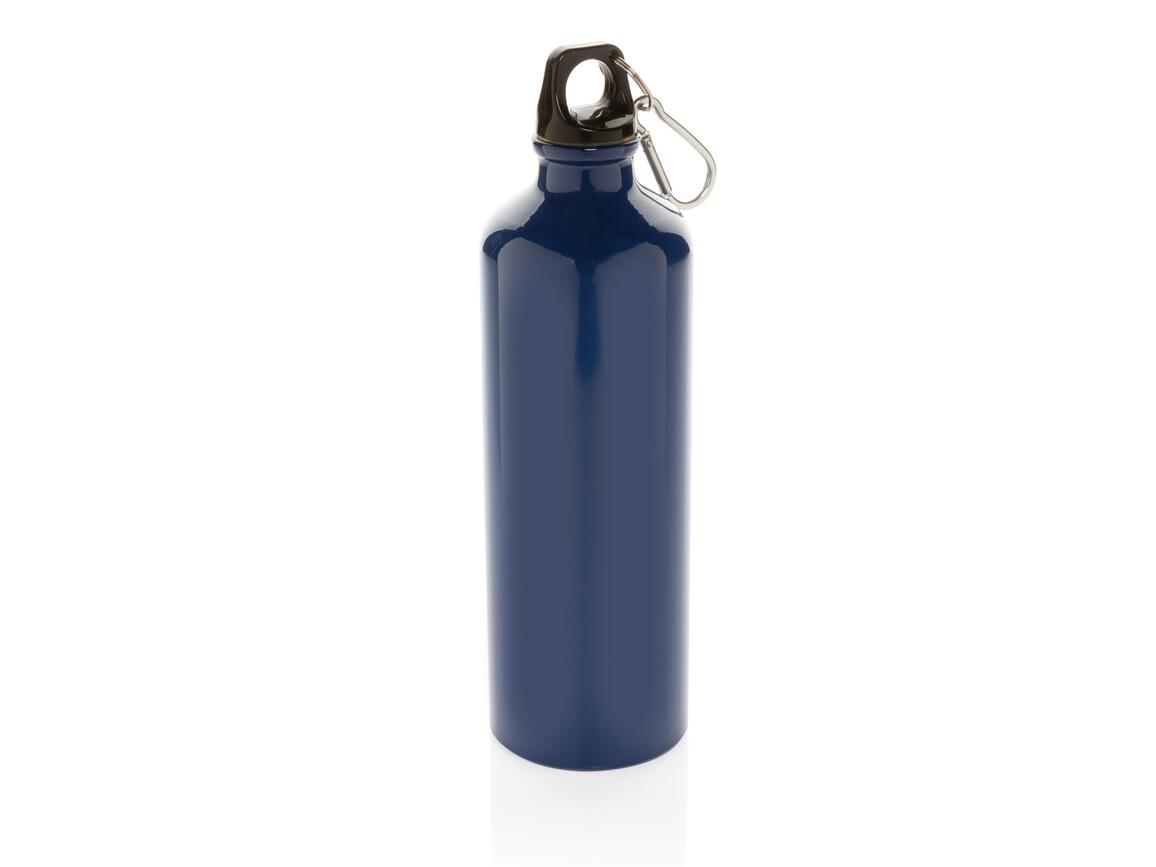 XL Aluminium Flasche mit Karabiner blau, schwarz bedrucken, Art.-Nr. P436.245