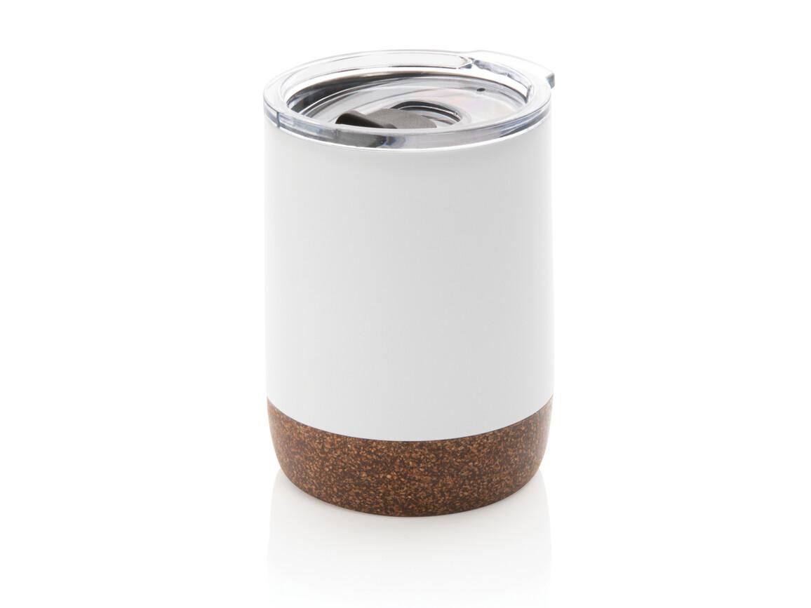 Vakuum-Tasse mit Kork-Details weiß bedrucken, Art.-Nr. P432.263