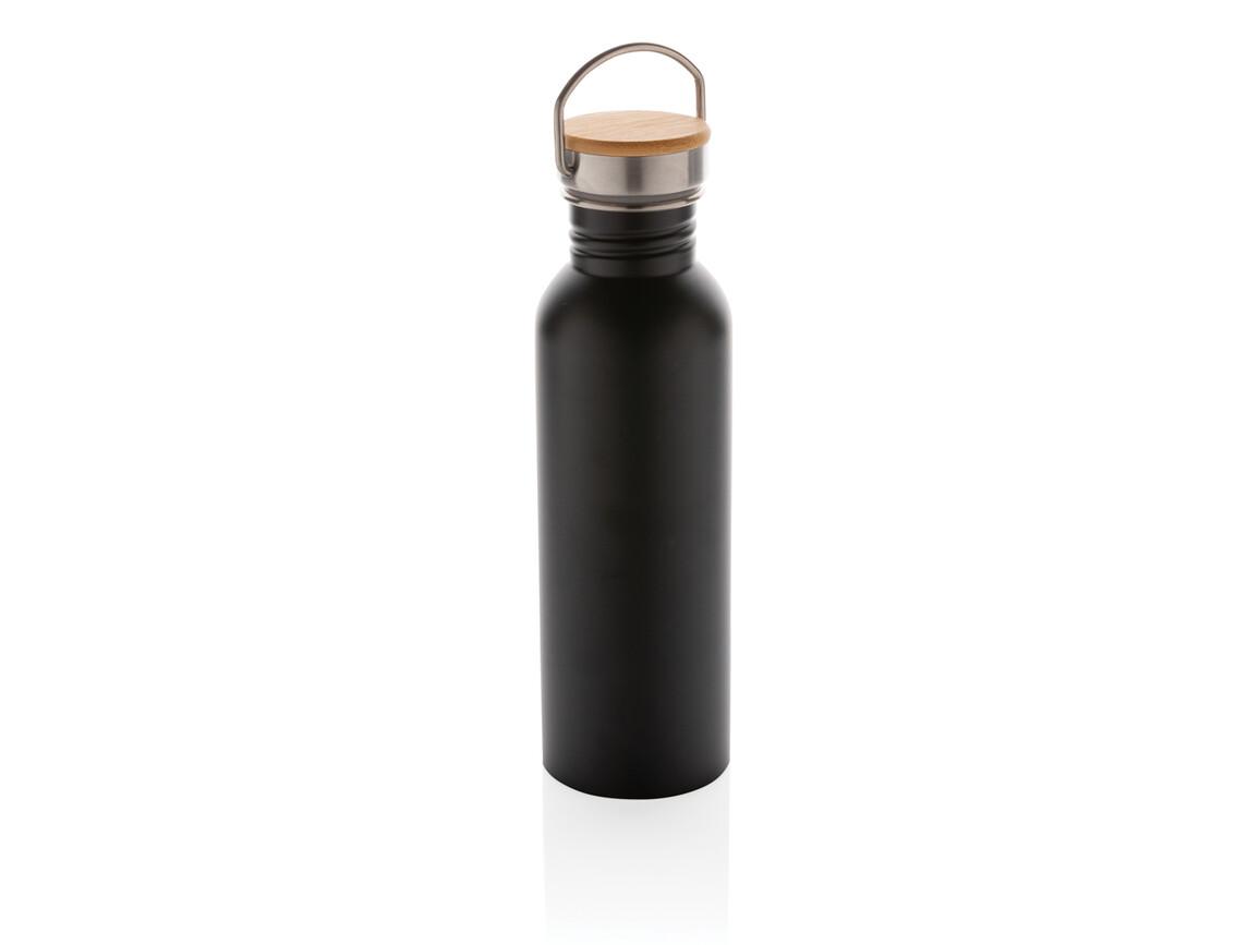 Moderne Stainless-Steel Flasche mit Bambusdeckel schwarz bedrucken, Art.-Nr. P436.831