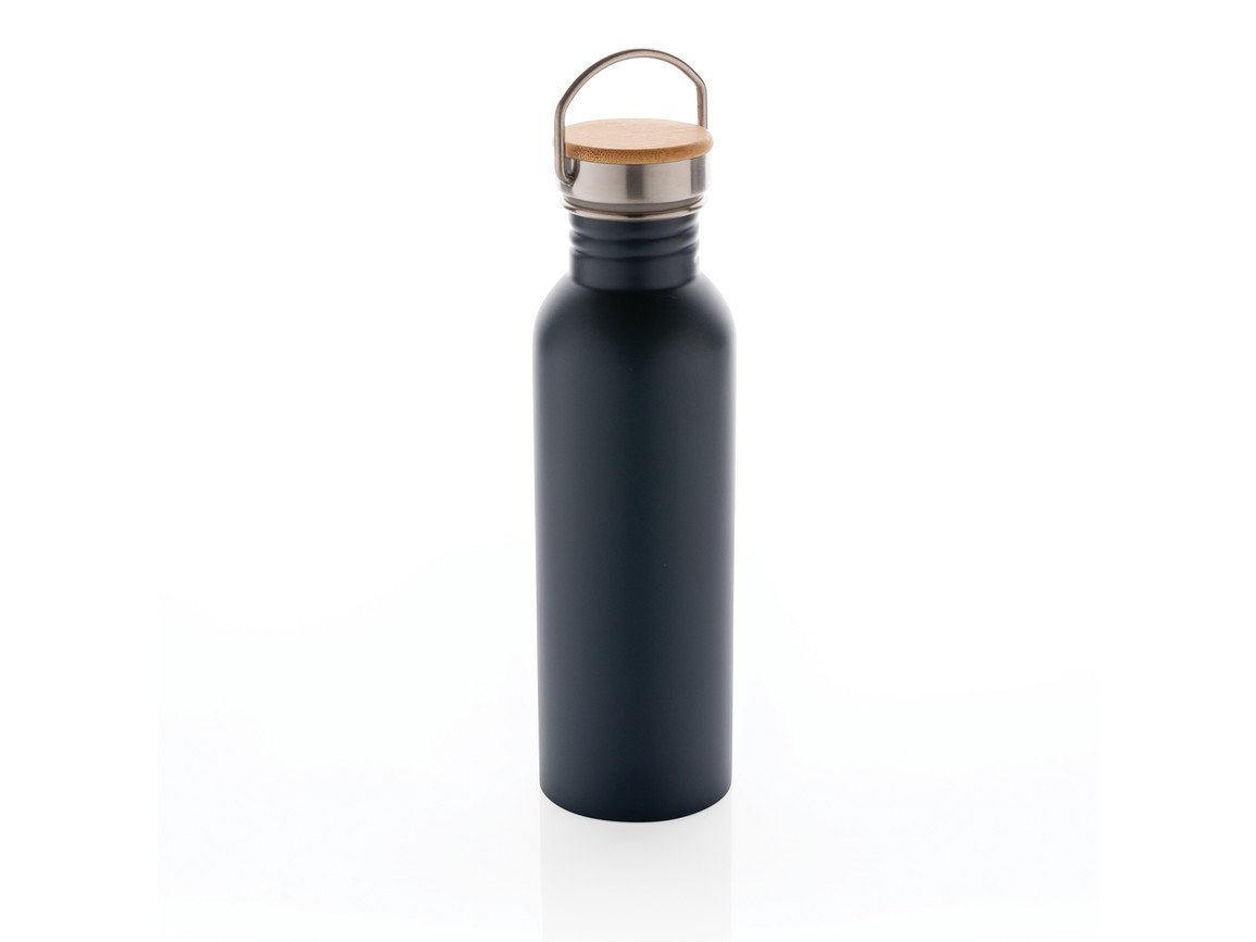 Moderne Stainless-Steel Flasche mit Bambusdeckel blau bedrucken, Art.-Nr. P436.835