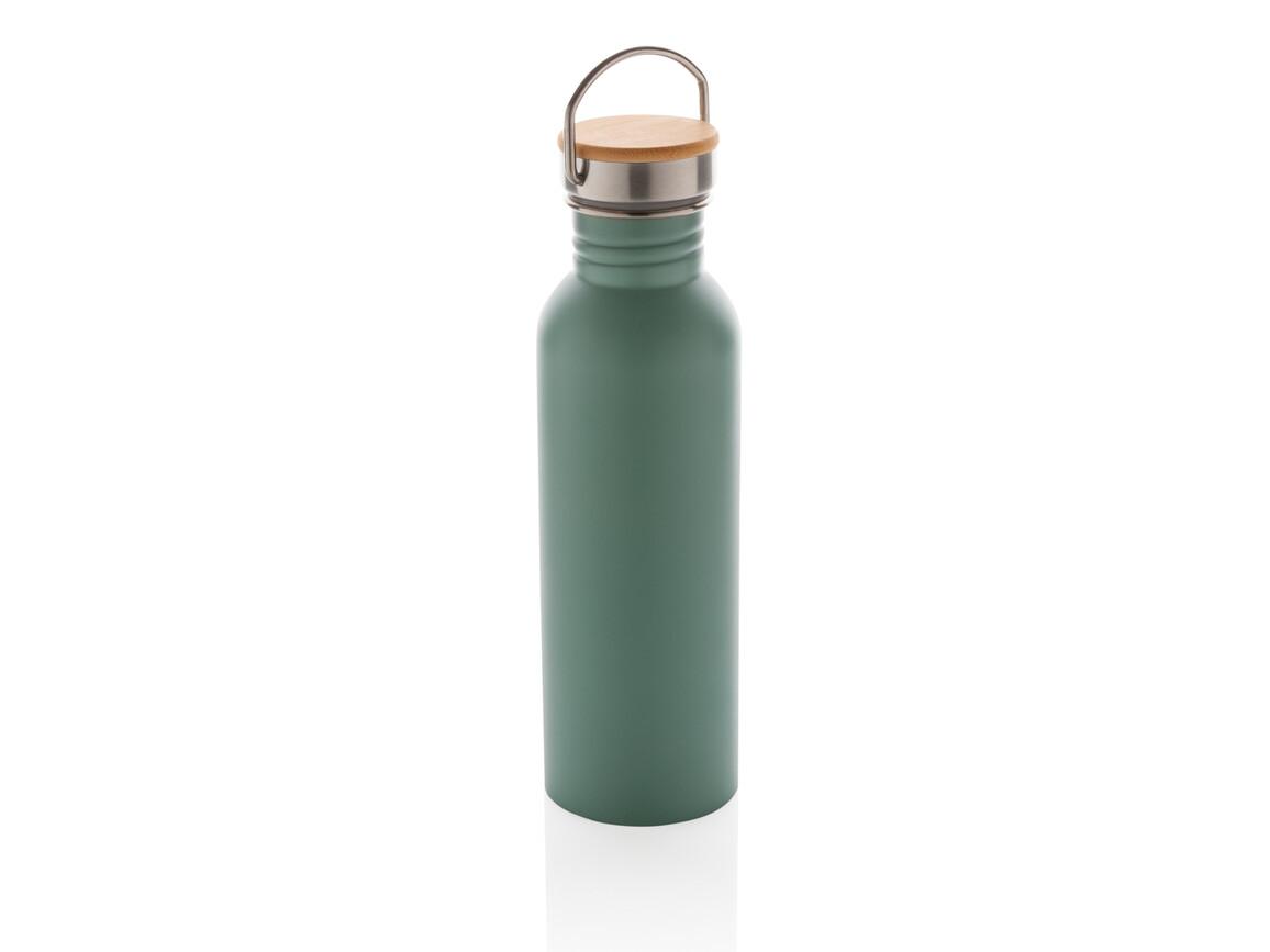 Moderne Stainless-Steel Flasche mit Bambusdeckel grün bedrucken, Art.-Nr. P436.837