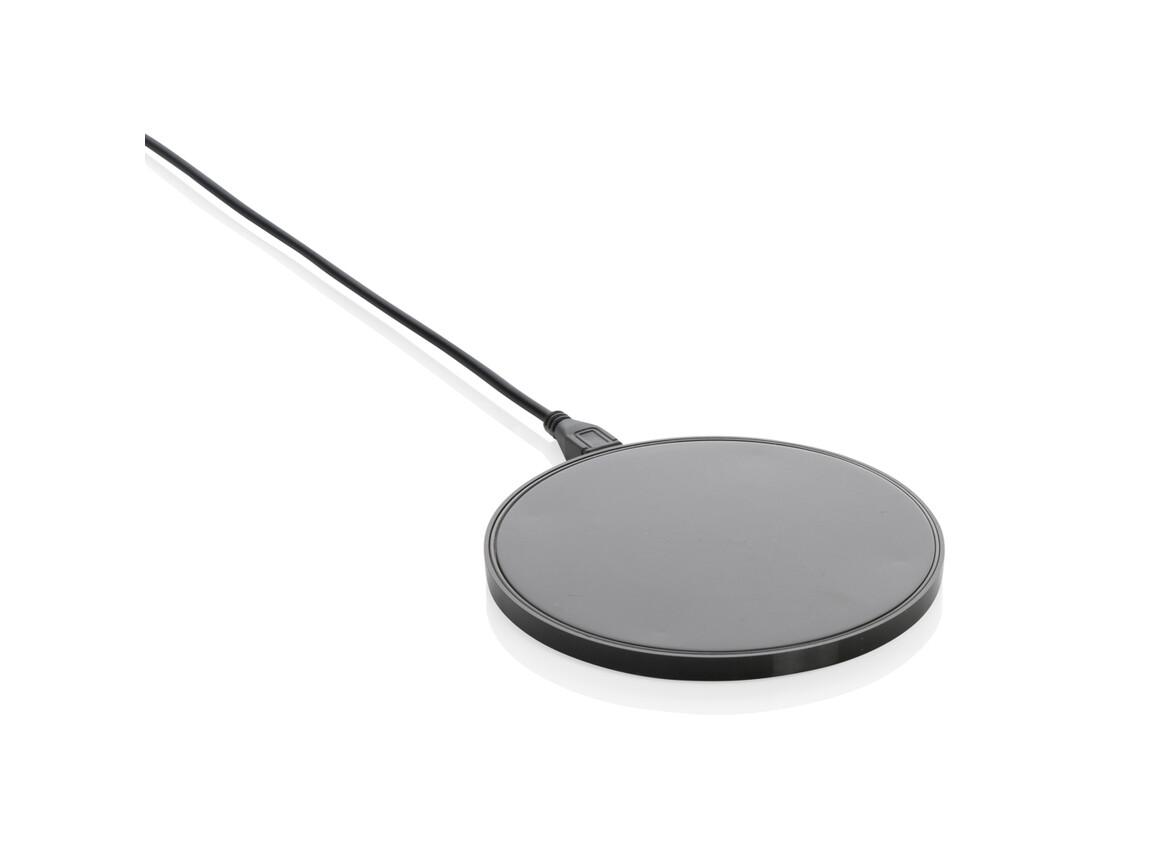 10W Wireless Charger aus RCS Standard recyceltem Kunststoff schwarz bedrucken, Art.-Nr. P308.661