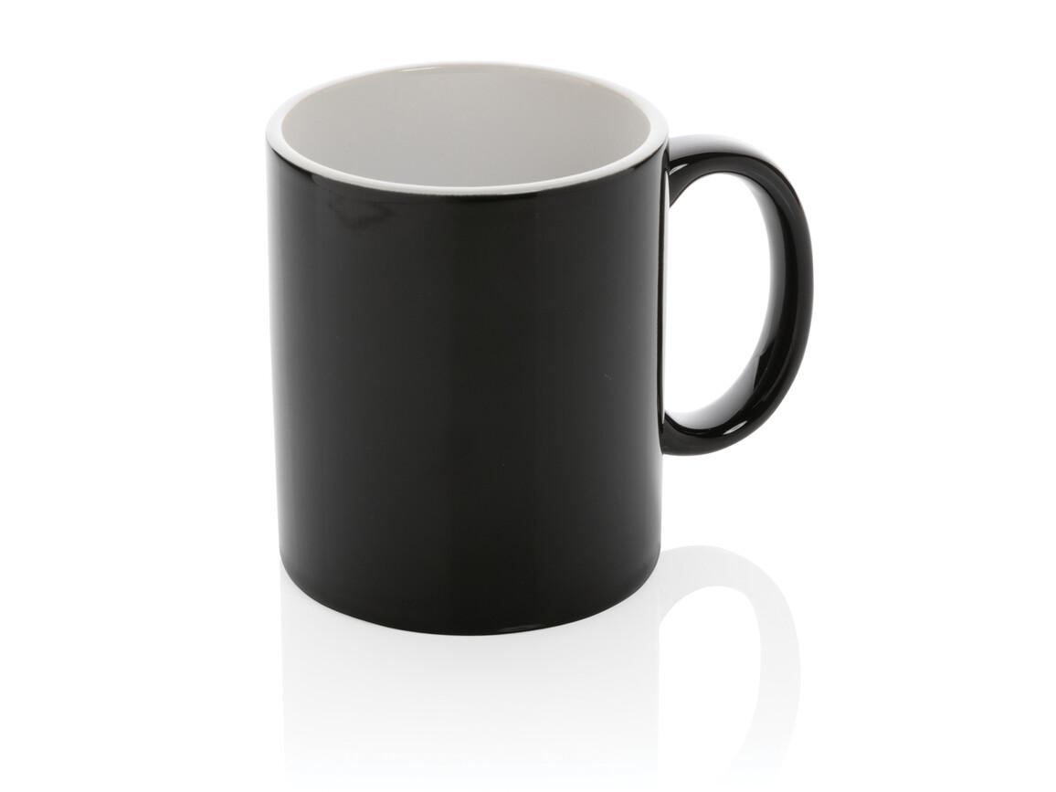 Basic Keramiktasse schwarz, weiß bedrucken, Art.-Nr. P434.011