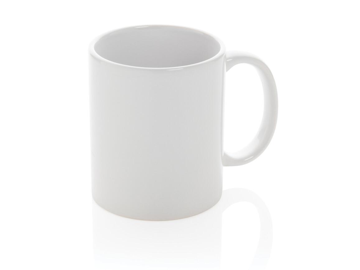 Basic Keramiktasse weiß, weiß bedrucken, Art.-Nr. P434.013