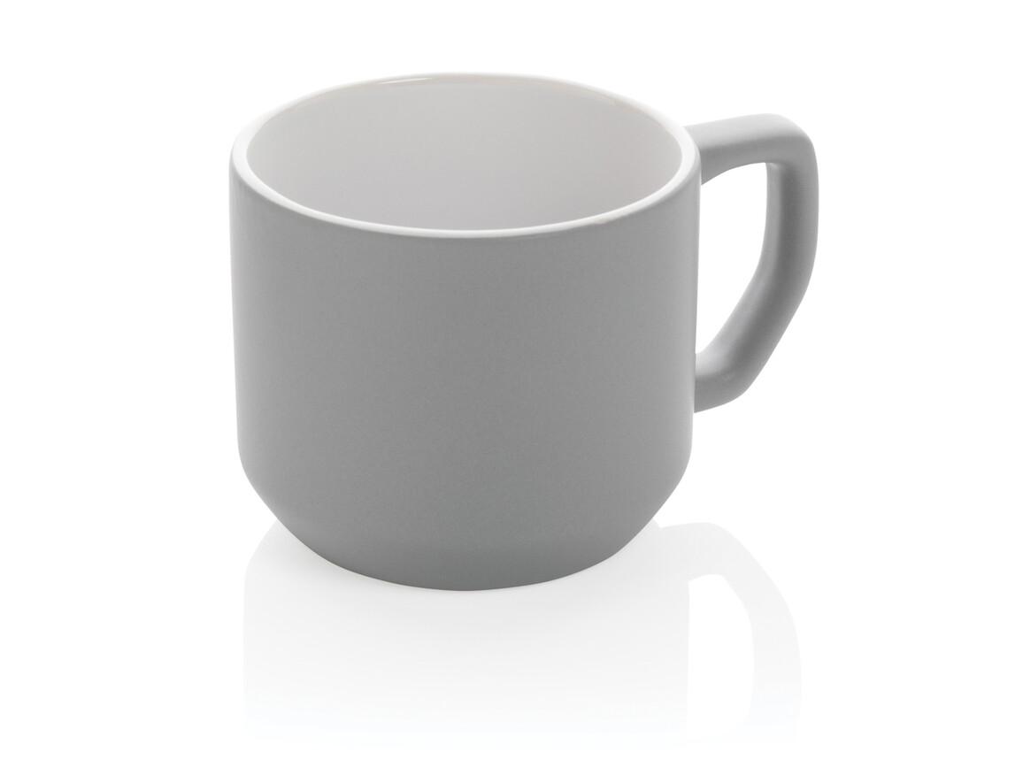 Moderne Keramiktasse grau bedrucken, Art.-Nr. P434.042