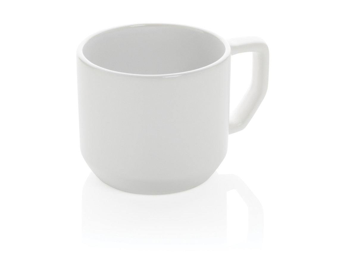 Moderne Keramiktasse weiß, weiß bedrucken, Art.-Nr. P434.043