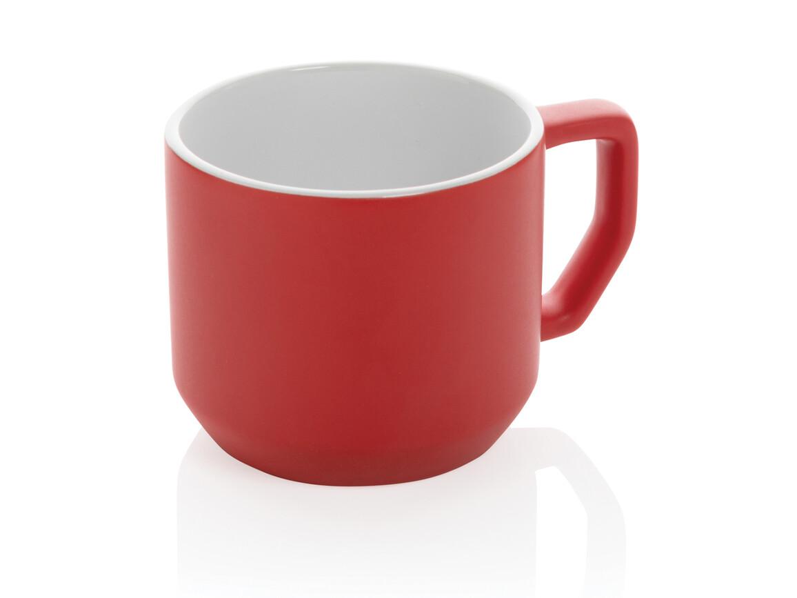 Moderne Keramiktasse rot bedrucken, Art.-Nr. P434.044