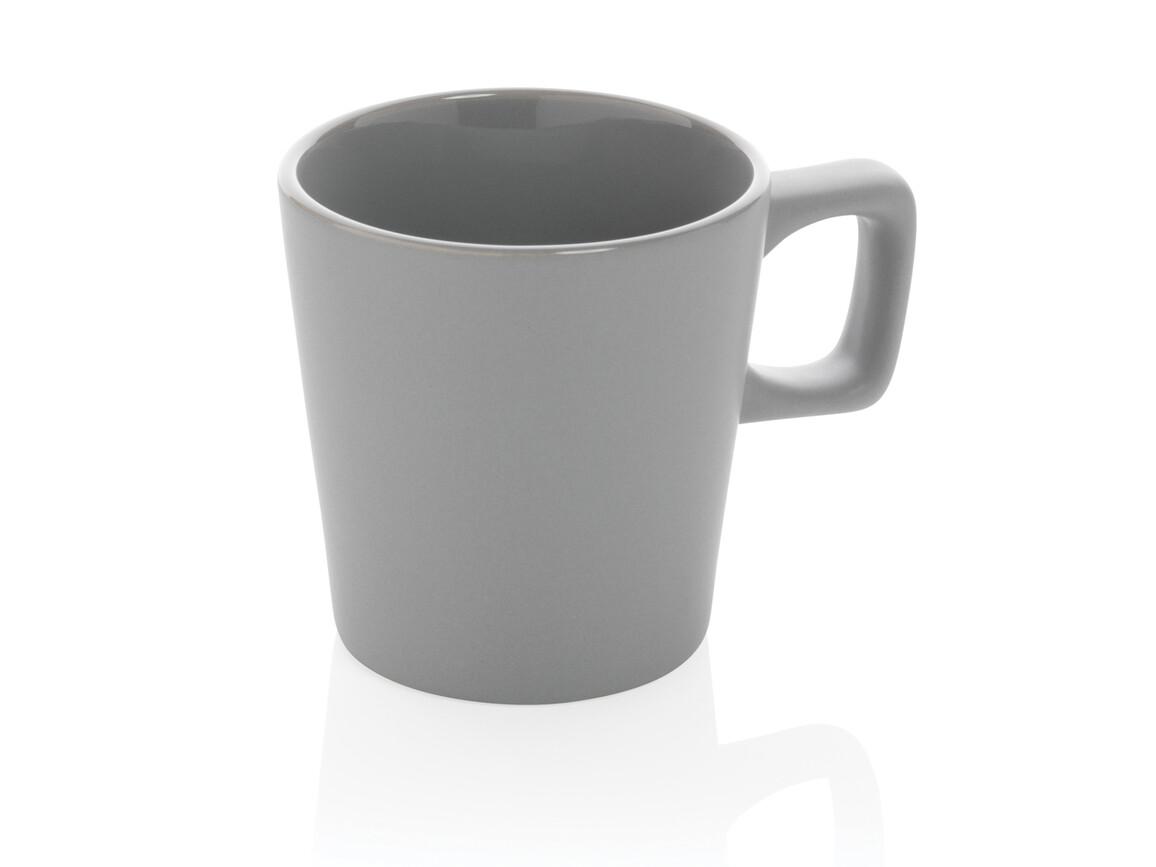 Moderne Keramik Kaffeetasse grau bedrucken, Art.-Nr. P434.052