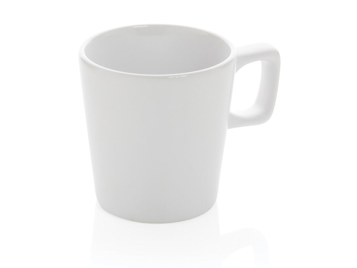 Moderne Keramik Kaffeetasse weiß, weiß bedrucken, Art.-Nr. P434.053