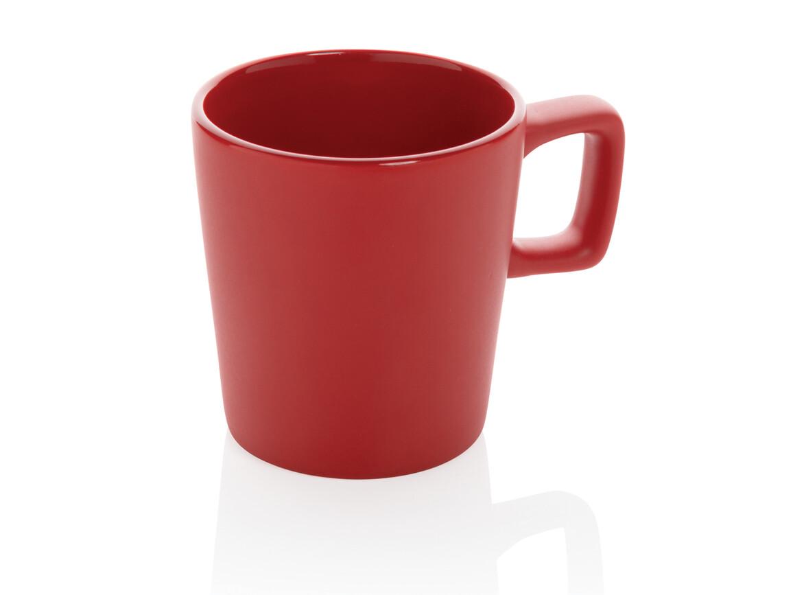 Moderne Keramik Kaffeetasse rot bedrucken, Art.-Nr. P434.054
