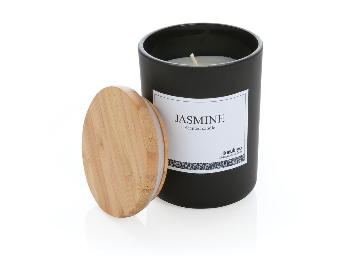 Ukiyo Deluxe parfümierte Kerze mit Bambusdeckel schwarz bedrucken, Art.-Nr. P262.941